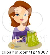 Clipart Of A Brunette Caucasian Woman Making A Lamp Shade Royalty Free Vector Illustration