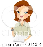 Clipart Of A Brunette Caucasian Woman Notary Holding A Stamp And Documents Royalty Free Vector Illustration by BNP Design Studio