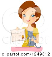 Clipart Of A Brunette Caucasian Woman Holding A Cat And Certificate Royalty Free Vector Illustration