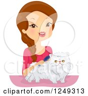 Clipart Of A Brunette Caucasian Woman Brushing Her Persian Cat Royalty Free Vector Illustration