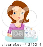 Clipart Of A Brunette Caucasian Woman And Cat Using A Laptop Computer Royalty Free Vector Illustration