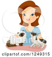 Clipart Of A Brunette Caucasian Woman Petting Her Cats Royalty Free Vector Illustration
