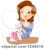 Clipart Of A Brunette Caucasian Woman Styling A Princess Cat Royalty Free Vector Illustration