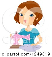 Clipart Of A Brunette Caucasian Woman Sewing With A Machine Royalty Free Vector Illustration