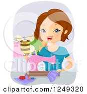 Clipart Of A Brunette Caucasian Woman Sewing Baby Costumes Royalty Free Vector Illustration