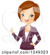 Clipart Of A Corporate Brunette Caucasian Woman In A Blazer Holding A Thumb Up Royalty Free Vector Illustration