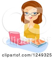 Clipart Of A Brunette Caucasian Woman Editor Using A Laptop Computer Royalty Free Vector Illustration