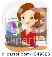 Clipart Of A Brunette Caucasian Woman Operating An Online Boutique Royalty Free Vector Illustration
