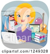 Clipart Of A Blond Caucasian Woman Selling Items Online Royalty Free Vector Illustration