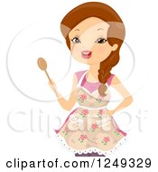 Clipart Of A Brunette Caucasian Woman In An Apron And Holding A Spoon Royalty Free Vector Illustration