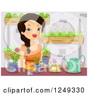 Clipart Of A Happy Woman Planting A Vertical Garden Royalty Free Vector Illustration