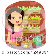 Clipart Of A Woman Working On A Vertical Garden Royalty Free Vector Illustration