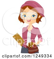 Clipart Of A Brunette Caucasian Woman Wood Carver Royalty Free Vector Illustration