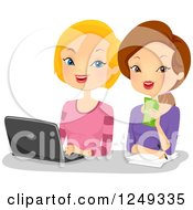 Clipart Of Blond And Brunette Caucasian Women Using A Laptop Computer Royalty Free Vector Illustration