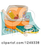 Clipart Of A Sewing Basket With Accessories Royalty Free Vector Illustration
