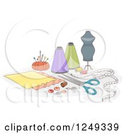Clipart Of A Manneqiun And Sewing Materials Royalty Free Vector Illustration