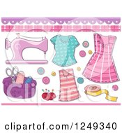 Clipart Of Sewing Scrapbook Design Elements Royalty Free Vector Illustration