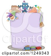 Clipart Of A Blank Box Full Of Boy Toys And Surrounded By A Train Royalty Free Vector Illustration