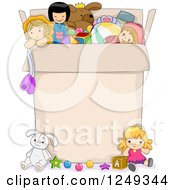 Clipart Of A Box Full Of Girl Toys With Text Space Royalty Free Vector Illustration