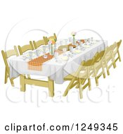 Clipart Of An Informal Rehearsal Dinner Table Royalty Free Vector Illustration
