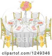 Clipart Of A Formal Wedding Reception Dinner Table Royalty Free Vector Illustration
