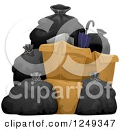 Clipart Of A Heap Of Garbage Bags And Boxes Royalty Free Vector Illustration