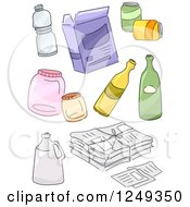 Clipart Of Sketched Recycle Items Royalty Free Vector Illustration by BNP Design Studio