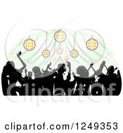 Clipart Of A Silhouetted Crowd Dancing Inside A Wedding Reception Party Tent Royalty Free Vector Illustration