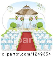 Clipart Of A Wedding Gazebo And Chairs By A Lake Royalty Free Vector Illustration by BNP Design Studio