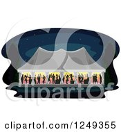 Silhouetted People Dancing In A Wedding Reception Party Tent At Night