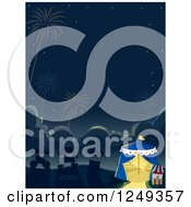 Clipart Of A Background Of A Night Circus With Fireworks Royalty Free Vector Illustration by BNP Design Studio