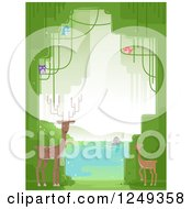 Clipart Of A Background Of Forest Animals And Trees At A Lake Royalty Free Vector Illustration