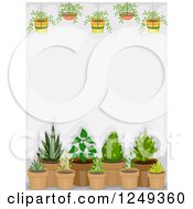 Clipart Of A Background Of Hanging And Potted Plants Royalty Free Vector Illustration