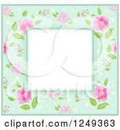 Clipart Of A Green Border With Pink Flowers Around Text Space Royalty Free Vector Illustration