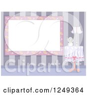 Clipart Of A Shapbby Chic Floral Frame By A Table Royalty Free Vector Illustration