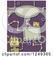 Clipart Of A Purple Background With Robots And Frames Royalty Free Vector Illustration