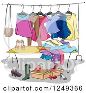 Clipart Of A Swap Party Rack And Shoes Royalty Free Vector Illustration