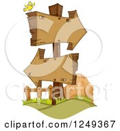 Clipart Of A Yellow Bird On A Stand With Wooden Arrow Signs Royalty Free Vector Illustration