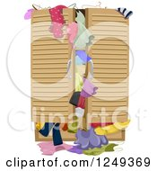 Clipart Of A Full Closet Over Flowing With Clothes Royalty Free Vector Illustration