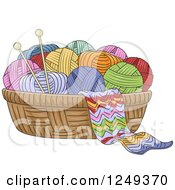 Clipart Of A Basket Of Yarn And Knitting Needles Royalty Free Vector Illustration