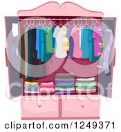 Clipart Of A Pink Wardrobe Armoire Closet With Clothing Royalty Free Vector Illustration by BNP Design Studio