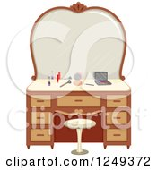 Clipart Of A Vanity Table With Makeup Royalty Free Vector Illustration by BNP Design Studio