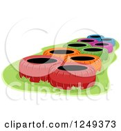 Clipart Of Colorful Tires In An Obstacle Course Royalty Free Vector Illustration