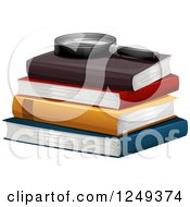Clipart Of A Magnifying Glass Resting On Books Royalty Free Vector Illustration