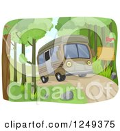 Clipart Of A Camper Bus On A Dirt Road Royalty Free Vector Illustration