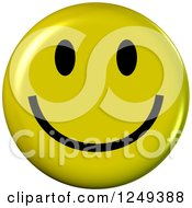 Clipart Of A 3d Happy Yellow Emoticon Face Royalty Free Illustration