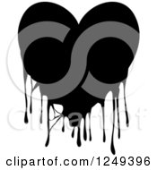 Clipart Of A Black And White Dripping Heart On White Royalty Free Illustration by Prawny