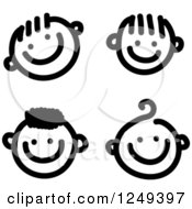 Clipart Of Black And White Sketched Happy Boy Faces Royalty Free Illustration