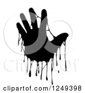Clipart Of A Black And White Dripping Hand On White Royalty Free Illustration by Prawny