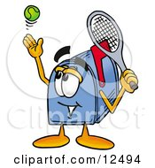 Clipart Picture Of A Blue Postal Mailbox Cartoon Character Preparing To Hit A Tennis Ball